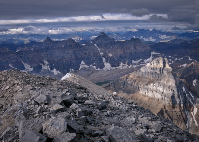 View from the top of Mount Temple (3544m) during summit and circumambulation, Banff NP