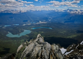 Looking down from the summit of Pyramid Mountain to the town of Jasper, with Pyramid and Patricia lakes in the foreground and lots of sexy Icefield peaks in the distance.