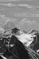 Wow this picture is really grainy... Mighty Mount Robson (highest peak in the Rockies) seen from the top of Pyramid Mountain.