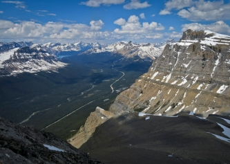 Looking down from my descent of Little Hector toward the TransCanada Highway. The immense walls of Mount Andromache are on the right. Bow Peak, Bow Lake, and Crowfoot Mountain are visible on the left.