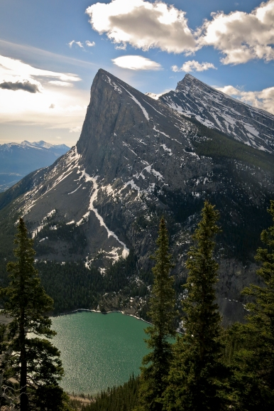 Steep Ha Ling Peak, mountain #2 of the day, seen across Whiteman's Gap during my ascent of the East End of Rundle.