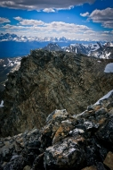 Looking south from the summit of Pyramid Mountain toward the Ramparts and the Trident Range.