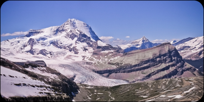 View of Mount Robson and Whitehorn from my little perch above Snowbird Pass.