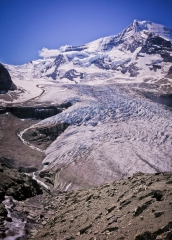 Looking down to Mount Robson's huge north glacier during my descent from Snowbird Pass.
