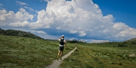 """Did I say fading, I meant 5K to go!"" Patrick says as he sprints toward a thunderhead which looks like a volcano erupting overtop of Bourgeau."