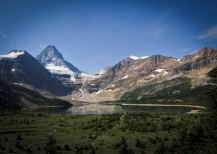 3618m Mount Assiniboine and Magog Lake seen from near Assiniboine Lodge.