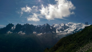 Mont Blanc, looking real fine... Summit is snowy high-point on right.